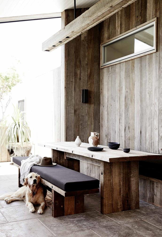 "**Deck** The custom dining table and benches with seats upholstered in [Sunbrella](https://www.sunbrella.com/|target=""_blank""