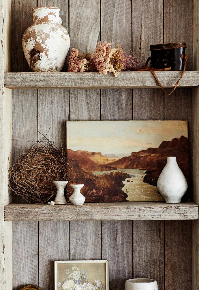 **Detail** Custom shelves feature vintage art sourced by Taliah during her travels, a camera that belonged to Sein's grandfather and a bird's nest found on a hike.