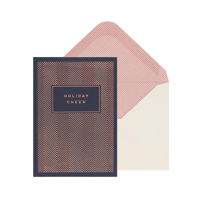 "B7 luxe multi Christmas greeting cards, $16.99/10 pack, from [Kikki K](https://www.kikki-k.com/au/shop-by/collection/christmas-collection/b7-greeting-cards-10pk-luxe-multi-christmas-11501401.html?cgid=shop_by-collection-christmas#start=48|target=""_blank""|rel=""nofollow"")"