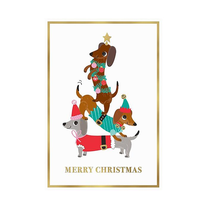 "Dachshund Christmas cards, $14.95/10 pack, from [David Jones](https://www.davidjones.com/home-and-food/christmas/christmas-cards-and-wrap/22049186/10PK-BOXED-CHRISTMAS-CARDS-DASCHUNDS.html|target=""_blank""|rel=""nofollow"")"