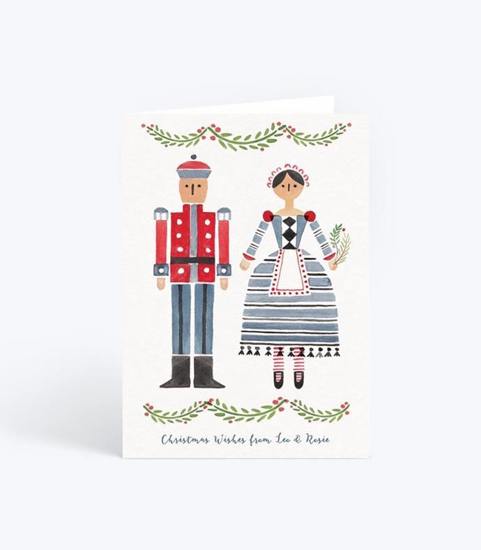 "Nutcracker couple customised Christmas cards, $59/10 pack, from [Papier](https://www.papier.com/au/nutcracker-couple-676|target=""_blank""|rel=""nofollow"")"