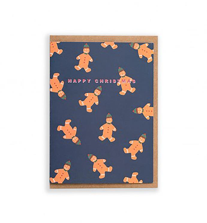 "CUB by Katie Leamon Gingerbread Man card, $7.95, from [Milligram](https://milligram.com/cub-by-katie-leamon-single-card-gingerbread-man|target=""_blank""