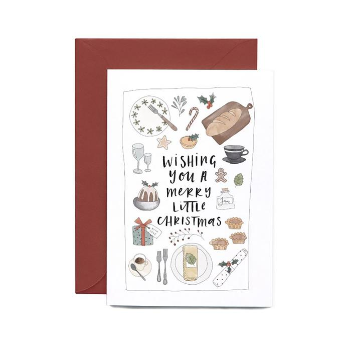 "Christmas feast greeting card, $6.95, from [In the Daylight](https://www.inthedaylight.com.au/products/christmas-feast-greeting-card?_pos=2&_sid=b94d63e44&_ss=r&variant=6680530369|target=""_blank""