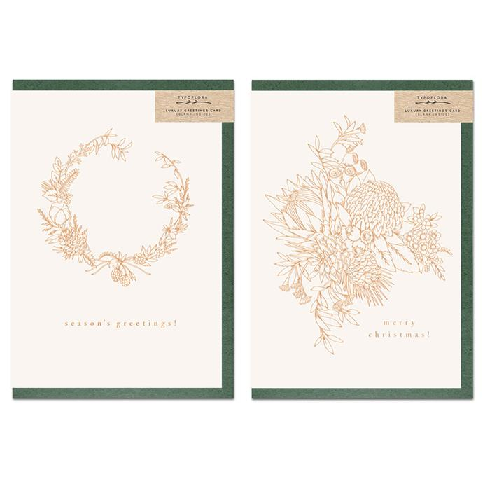 "Foiled Christmas pack, $25, from [Typoflora](https://www.typoflora.com.au/cards/19merrychristmaspack|target=""_blank""