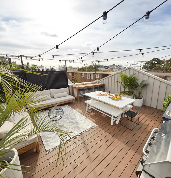 **Week 13, rooftop terrace, garage and redo rooms** Having one of the larger rooftop terraces allowed Andy and Deb to create a generous outdoor entertaining space decked out in fabulous furniture, festoon lights, lush palms and an impressive outdoor kitchen.