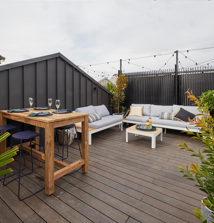 **Week 13, rooftop terrace, garage and redo rooms** Tess and Luke created a comfortable and functional rooftop terrace on a tight budget and although it didn't have a fireplace or flashy outdoor kitchen, it still looked like the perfect place to enjoy sunset drinks or a morning cuppa.