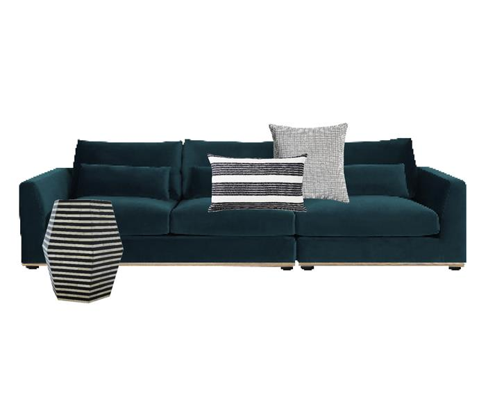 """Alfie 3-seater sofa in Deep Teal Velvet, $1728, [Castlery](https://www.castlery.com.au/products/alfie-3-seater-sofa?quantity=1&material=Deep_teal&orientation=right_facing&leg_color=walnut