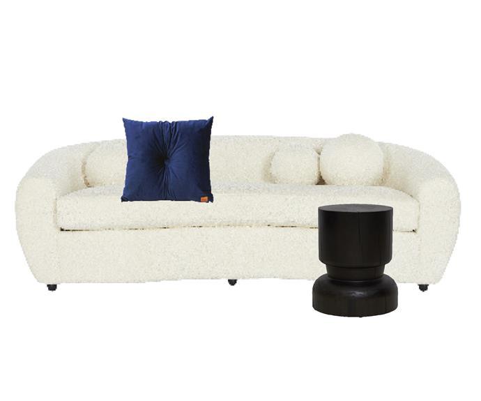 "Atelier sofa, $4595, [Coco Republic](https://www.cocorepublic.com.au/atelier-sofa-26|target=""_blank""|rel=""nofollow""). Velvet cushion with centre button detail in Cobalt Blue, $129, [The Block Shop](https://www.theblockshop.com.au/product/velvet-cushion-with-centre-button-detail-51-x-51cms-insert-included-royal-blue/|target=""_blank""|rel=""nofollow""). United Strangers In The Flesh 2 side table in Black, $695, [Matt Blatt](https://www.mattblatt.com.au/|target=""_blank""|rel=""nofollow"")."