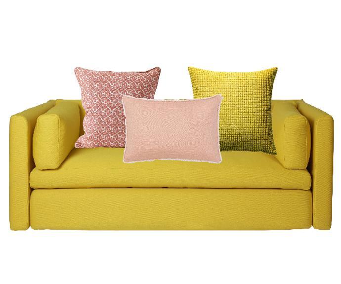 "Hackney 2-seater sofa in Steelcut 445, $5900, [Hay](https://hayshop.com.au/products/hackney-2-seater-1|target=""_blank""|rel=""nofollow""). Arles cushion in Guava, $147, [Walter G](https://walter-g.com.au/|target=""_blank""|rel=""nofollow""). Sandy Bay cushion in Smoked Tea, $79.95, [Sheridan](https://www.sheridan.com.au/sandy-bay-cushion-s1m4-b160-c261-001-white.html|target=""_blank""|rel=""nofollow""). Gullklocka cushion cover in Yellow, $9.99, [Ikea](https://www.ikea.com/au/en/|target=""_blank""|rel=""nofollow"")."
