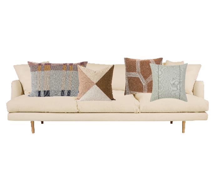 "Hampton 4-seat sofa in Bellevue Linen, $2999, [Lounge Lovers](https://www.loungelovers.com.au/hampton-4-seat-sofa-bellevue-linen|target=""_blank""|rel=""nofollow""). Ferm Living 'Medley Knit' cushion in Mint, $165 for large, [Leo & Bella](https://leoandbella.com.au/shop/ferm-living-cushion-medley-knit-mint-large/|target=""_blank""|rel=""nofollow""). Città 'Origami' patchwork cushion, $109, [RJ Living](https://www.rjliving.com.au/buy-origami-patchwork-cushion.html|target=""_blank""|rel=""nofollow""). Lapuan Kankurit 'Himmeli' cushion cover in Terracotta, $77.75, [Finnish Design Shop](https://www.finnishdesignshop.com/textiles-cushions-cushion-covers-himmeli-cushion-cover-terracotta-p-20062.html|target=""_blank""|rel=""nofollow""). Palmers Bay cushion in Pistachio, $79.95, [Sheridan](https://www.sheridan.com.au/palmers-bay-cushion-s5il-b160-c229-884-pistachio.html. |target=""_blank""|rel=""nofollow"")"