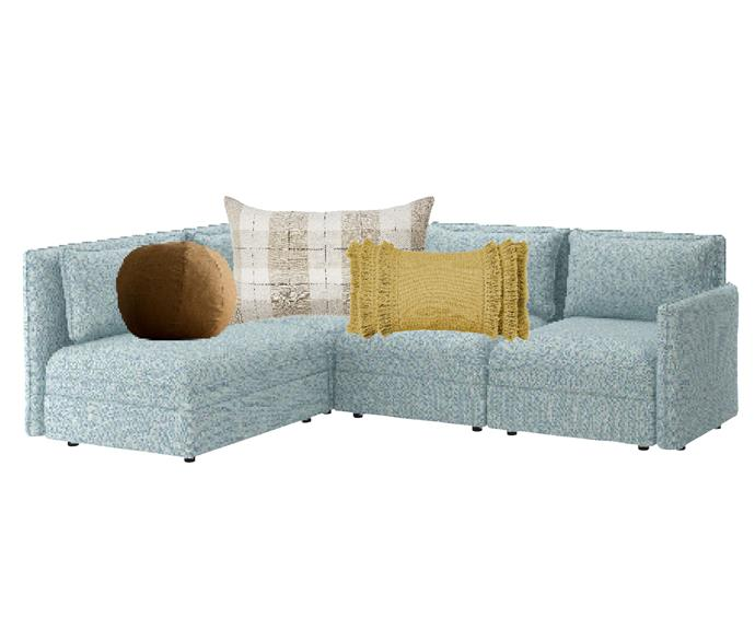 """Vallentuna 3-seat modular sofa with storage in Hillared Light Blue, $2175, [Ikea](https://www.ikea.com/au/en/