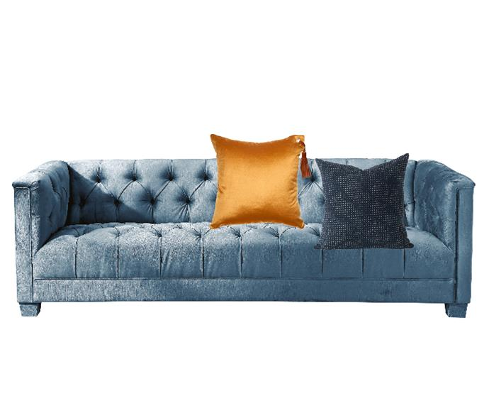 """Lusso 3-seater sofa in Teal, $2490, [Canvas Home Interiors](https://canvashomeinteriors.com/products/lusso-sofa-teal