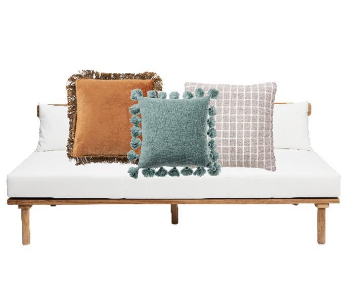 "Timber Villa sofa, $3199, [Harpers Project](https://www.harpersproject.com/|target=""_blank""|rel=""nofollow""). Habitat 'Stella' cushion in Rust, $34.95, [Pillow Talk](https://www.pillowtalk.com.au/|target=""_blank""|rel=""nofollow""). Home Republic 'Aries' cushion in Surf, $49.99, [Adairs](https://www.adairs.com.au/homewares/cushions/home-republic/aries-cushion-45x45cm-surf/|target=""_blank""|rel=""nofollow""). Anda cushion in Ecru, $69.95, [Country Road]9https://www.countryroad.com.au/Product/60234038-112/anda-50x50-cushion|target=""_blank""|rel=""nofollow"")."