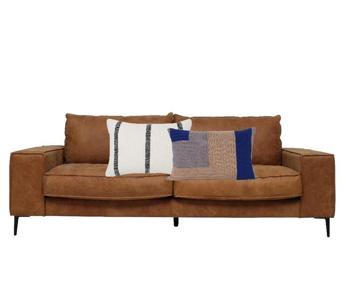 "Tatum 3-seater sofa in Pelle Brown, $2649, [OZ Design Furniture](https://ozdesignfurniture.com.au/furniture/sofas-sofabeds/leather-sofas/tatum-3-seater-in-pelle-brown|target=""_blank""|rel=""nofollow""). Ray stripe cushion in Marshmallow, $59.95, [Country Road](https://www.countryroad.com.au/Product/60241821/ray-stripe-35x50-cushion|target=""_blank""|rel=""nofollow""). Ferm Living 'Angle Knit' cushion in Dusty Rose, $95.95, [Finnish Design Shop](https://www.finnishdesignshop.com/textiles-cushions-decorative-cushions-angle-knit-cushion-dusty-rose-p-13923.html.|target=""_blank""|rel=""nofollow"")"