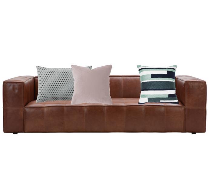 "Atlas 2.5-seat leather sofa in Tan Randolph, $2699, [Freedom](https://www.freedom.com.au/furniture/living-room/sofas/23202597/atlas-2-5-seat-leather-sofa|target=""_blank""|rel=""nofollow""). AYTM 'Aeris' 3D knitted cushion in Mint, $189, Dos Facio Design. Velvet cushion in Dove, $69.95, [OZ Design Furniture](https://ozdesignfurniture.com.au/|target=""_blank""|rel=""nofollow""). Maison by Rapee 'Orion' cushion, $43.95, [Zanui](https://www.zanui.com.au/Orion-Cushion-152016.html|target=""_blank""|rel=""nofollow"")"