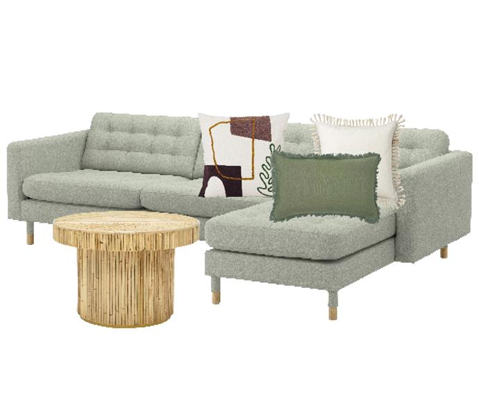 """Landskrona 4-seat sofa with chaise lounge in Gunnared light green/wood, $1299, [Ikea](https://www.ikea.com/au/en/