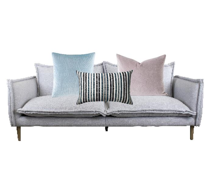 """Madeline sofa in Ice, $2495, [The Rug Collection](https://www.therugcollection.com.au/product/madeline-sofa/