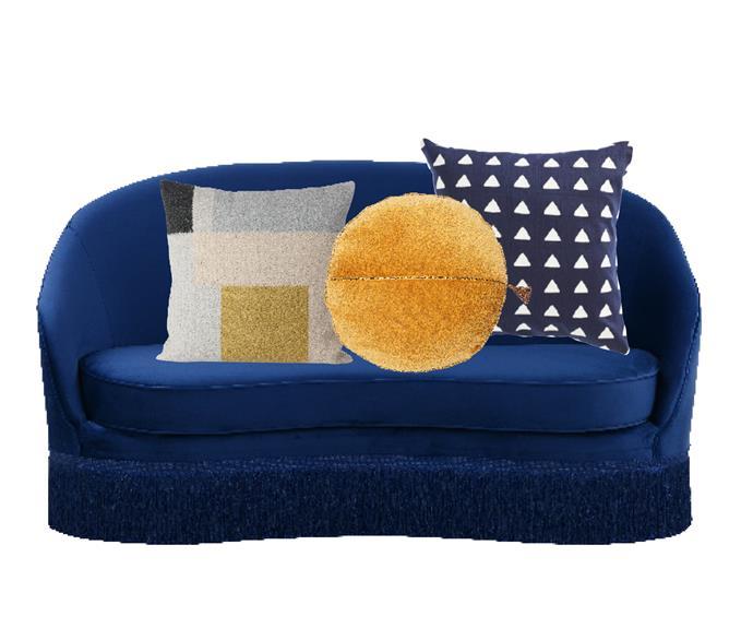 "Kennedy fringed 2-seater sofa in Cobalt, $2990, [GlobeWest](https://www.globewest.com.au/|target=""_blank""|rel=""nofollow""). Ferm Living 'Kelim' cushion in Squares, $90.40, [Finnish Design Shop](https://www.finnishdesignshop.com/|target=""_blank""|rel=""nofollow""). Circlyn cushion in Mustard, $109.94, [Eadie Lifestyle](https://www.eadielifestyle.com.au/collections/cushions/products/circlyn-cushion-white|target=""_blank""|rel=""nofollow""). Tama Diamond cushion in Navy, $115, [Coco Republic](https://www.cocorepublic.com.au/tama-diamond-cushion-10027|target=""_blank""|rel=""nofollow"")."
