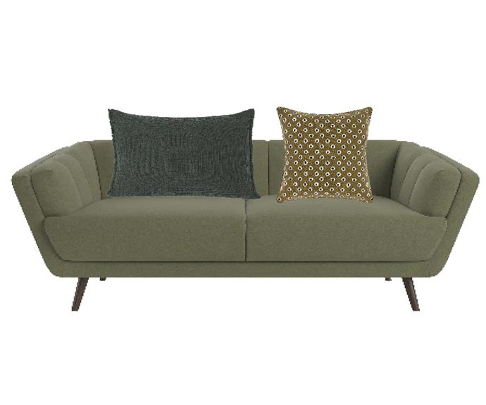 """Percy 3-seater sofa in Classic Periodot Olive, $899, [Brosa](https://www.brosa.com.au/