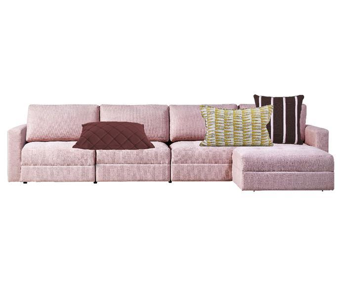 "Stella 4-piece modular lounge upholstered in Warwick 'Optima' fabric, $2499, [Domayne](https://www.domayne.com.au/|target=""_blank""|rel=""nofollow""). Parla rectangular cushion in Scarlet, $79, [Brosa](https://www.brosa.com.au/products/parla-rectangular-cushion-60-x-40cm?SKU=BDLA04118|target=""_blank""|rel=""nofollow""). Tangier cushion in Saffron, $132, [Walter G](https://walter-g.com.au/products/tangier-saffron-cushion|target=""_blank""|rel=""nofollow""). Tivoli 'Trifle Stripe' cushion, $131, [Finnish Design Shop](https://www.finnishdesignshop.com/textiles-cushions-decorative-cushions-trifle-stripe-cushion-p-19452.html.|target=""_blank""|rel=""nofollow"")."