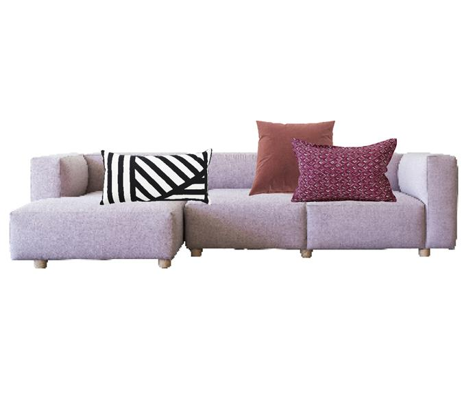"""Other Works 'Hawley' sofa upholstered in Instyle 'Feel' fabric in At Home, $8763, [Project 82](https://www.project82.com.au/sofas/hawley-sofa-by-stapleco