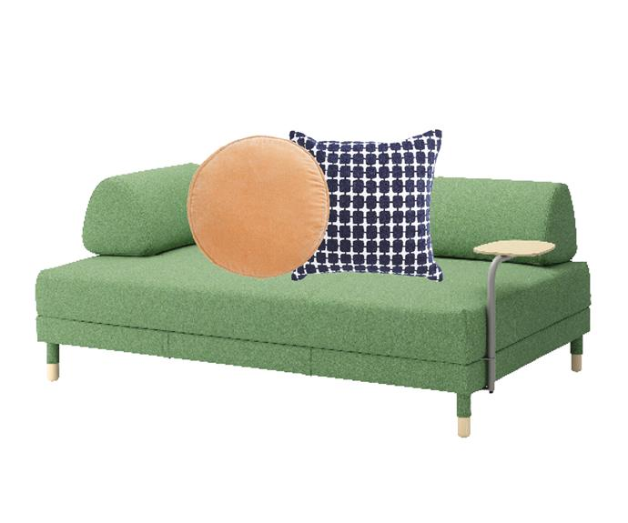 "Flottebo sofa bed with side table in Lysed Green, $794, [Ikea](https://www.ikea.com/au/en/|target=""_blank""|rel=""nofollow""). Velvet penny round cushion cover in Peach, $49, [Castle](https://www.castleandthings.com.au/|target=""_blank""|rel=""nofollow""). Alvar cushion in Navy, $115, [Coco Republic](https://www.cocorepublic.com.au/alvar-cushion-10023|target=""_blank""|rel=""nofollow"")."