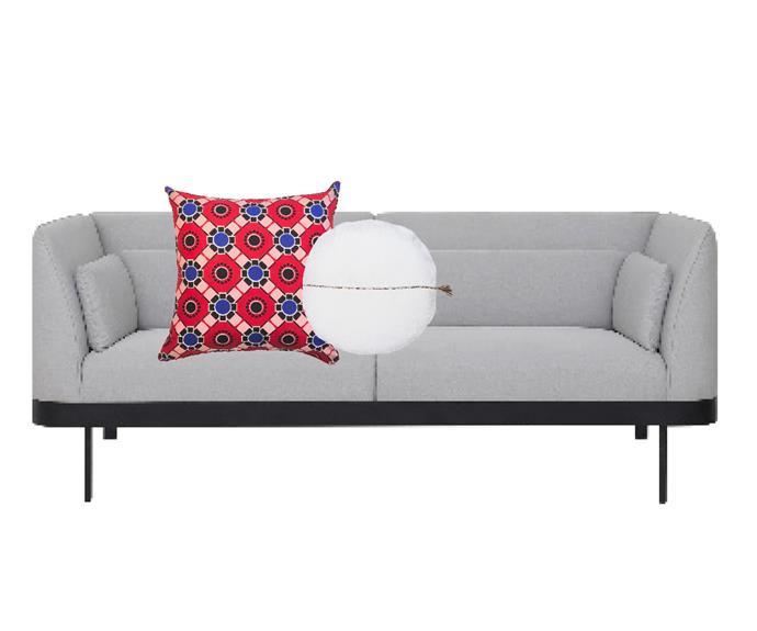 "Luna sofa in Parchment Beige, $1199, [Castlery](https://www.castlery.com.au/|target=""_blank""|rel=""nofollow""). African Wax print cotton cushion in Geometric, $75, [The Block Shop](https://www.theblockshop.com.au/product/african-wax-print-cotton-cushion-geometric/|target=""_blank""|rel=""nofollow""). Circlyn cushion in White, $109.94, [Eadie Lifestyle](https://www.eadielifestyle.com.au/collections/cushions/products/circlyn-cushion-white|target=""_blank""|rel=""nofollow"")."