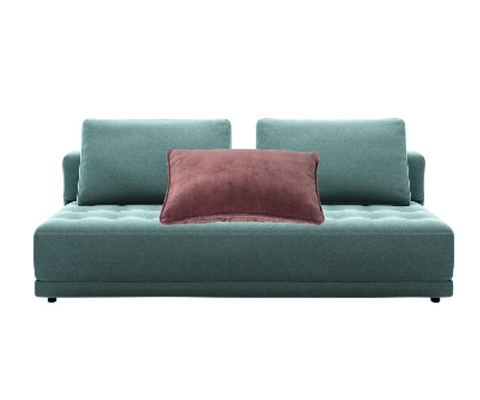 """Felix studio bed in Luxe Ocean Premium King Fabric, from $2490, [King Living](https://www.kingliving.com.au/