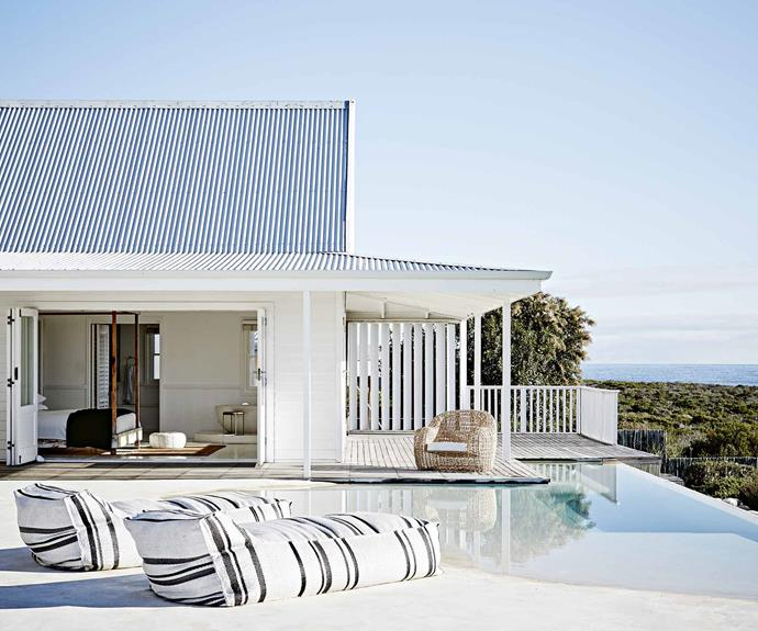 An all-white contemporary beach house in South Africa