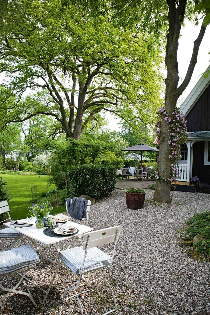 There are several choice spots for outdoor dining; the magnificent oak tree is more than a century old.