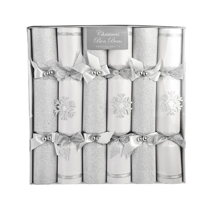 "Silver & white snowflake luxury Christmas bon bons, $39.95, from [Wheel&Barrow](https://wheelandbarrow.com.au/xmas-bon-bons-luxury-box-12-silver-and-white-snowflake.html|target=""_blank""