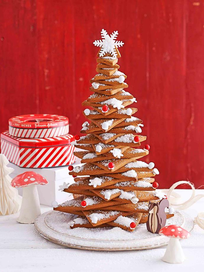 Finish the tree off with a coat of icing sugar and cachous baubles.