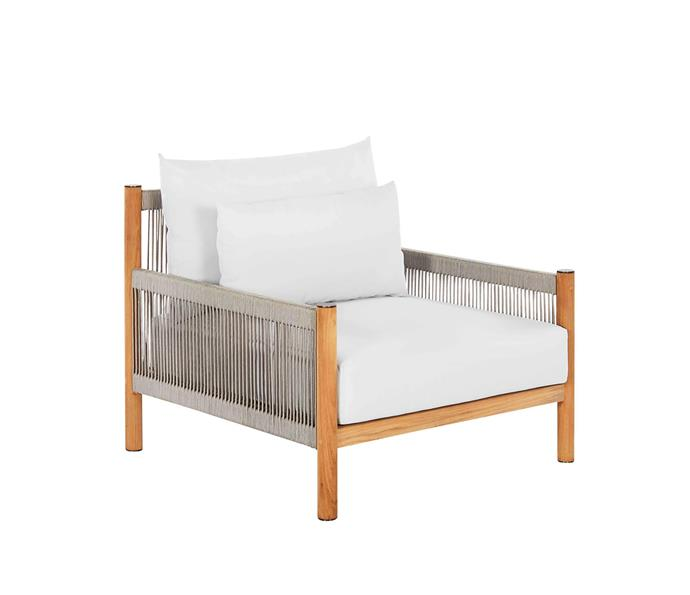 "Architect teak and rope outdoor armchair, $2495, from [Coco Republic](https://www.cocorepublic.com.au/architect-outdoor-sofa-8893|target=""_blank""
