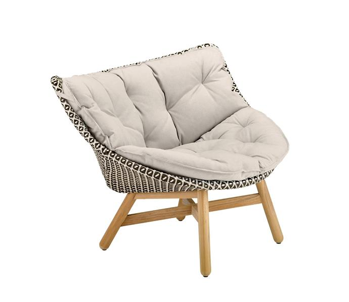 """Dedon 'Mbrace' aluminium lounge chair with Dedon-fibre seat, $3130, from [Cosh Living](https://coshliving.com.au/products/mbrace-lounge-chair