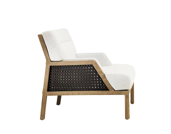 """Grand Life teak outdoor armchair with acrylic upholstery, $6350, from [Fanuli](https://www.fanuli.com.au/furniture/brands/ethimo/grand-life-outdoor-armchair/