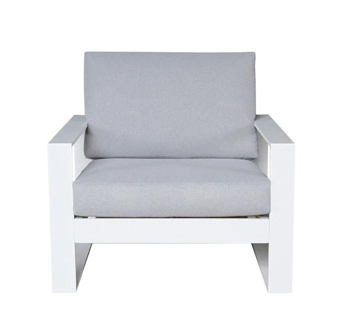 "Burano aluminium outdoor armchair with olefin seat, $499, from [Harvey Norman](https://www.harveynorman.com.au/burano-outdoor-armchair.html|target=""_blank""
