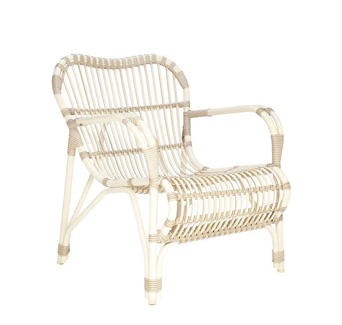 "Lucy aluminium and synthetic fibre outdoor armchair, $1596, from [Janus et Cie](https://www.janusetcie.com/products/lucy-stacking-dining-armchair-776-01-013-21-00/|target=""_blank""