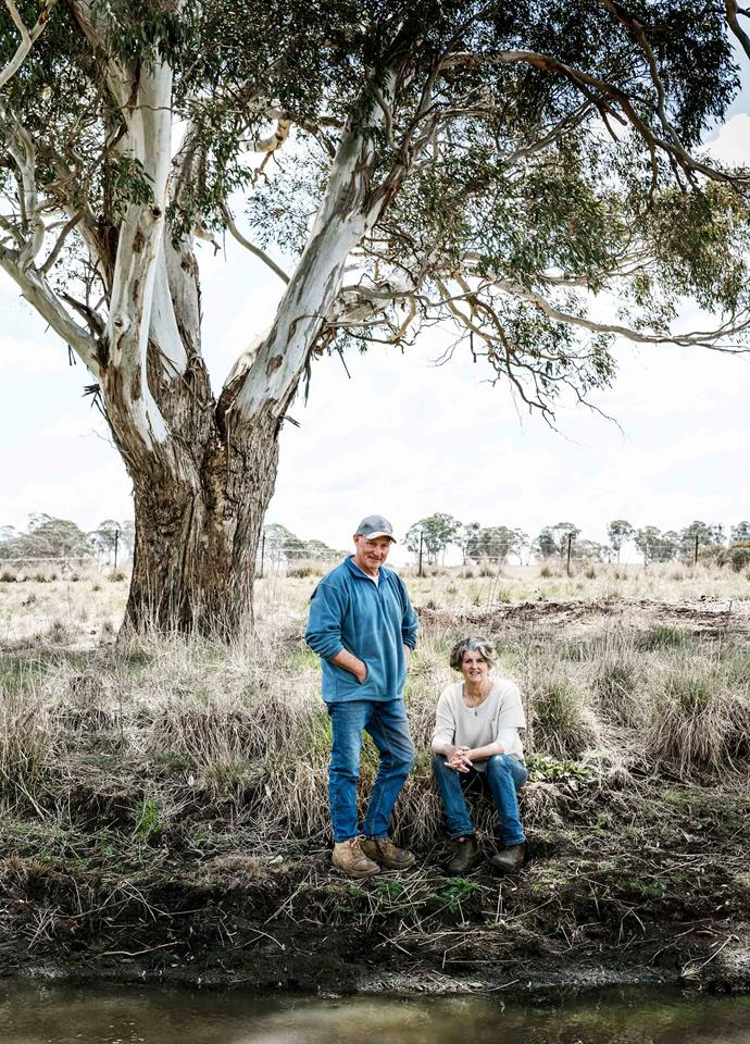 Derek and Fiona Smith on their farm Kenilworth. They have scaled down their farm production due to the drought and now have 12 cattle and 2000 laying chickens.