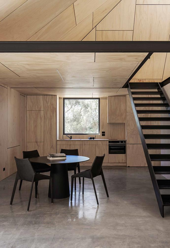 "**Custom joinery** [Clever joinery](https://www.homestolove.com.au/custom-joinery-ideas-18234|target=""_blank"") hides the window in the open-plan kitchen and dining space at will, as well as the kitchen itself."