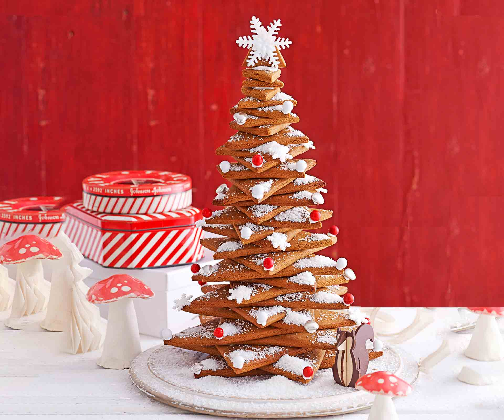 Gingerbread Christmas tree made from star shaped biscuits