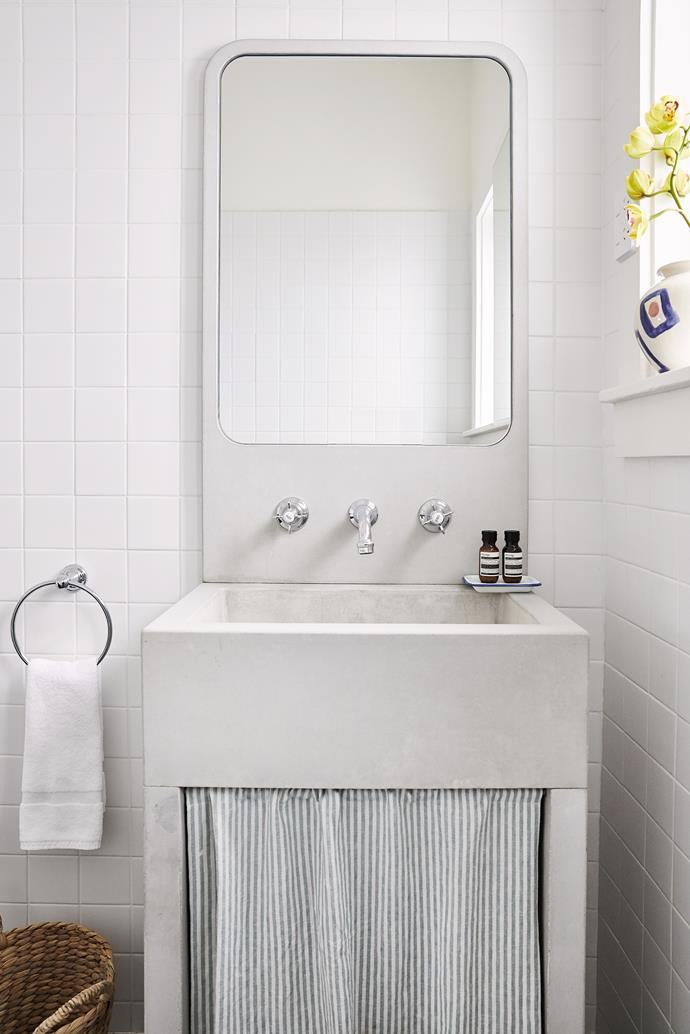 Custom concrete bathroom vanity.