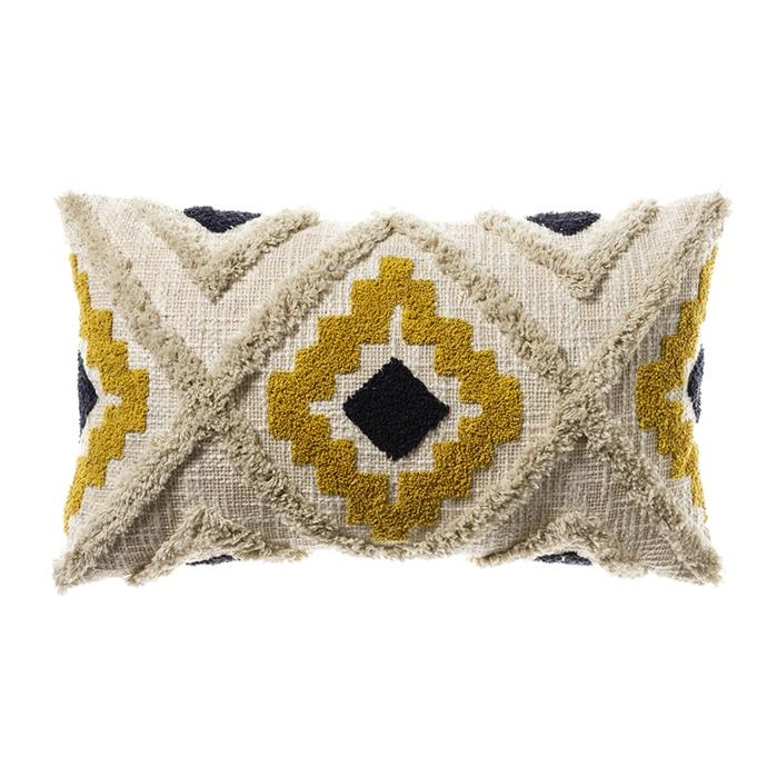 "Home Republic 'Mexica' cushion in Mustard & Navy, $49.99, [Adairs](https://www.adairs.com.au/homewares/cushions/home-republic/mexica-cushion-30x50cm-mustardnavy/|target=""_blank""|rel=""nofollow"")"