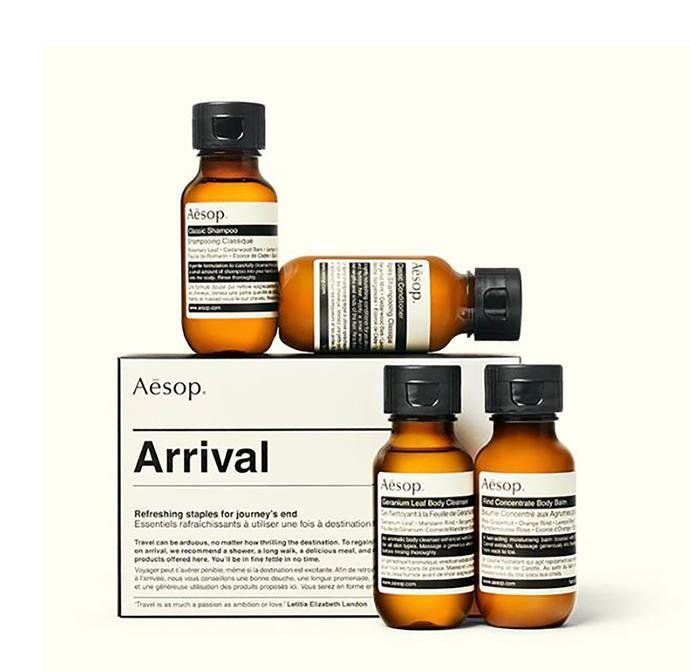 "Aesop 'Arrival' kit, $41, from [Aesop](https://www.aesop.com/au/p/kits-travel/travel/arrival/|target=""_blank""|rel=""nofollow"")"
