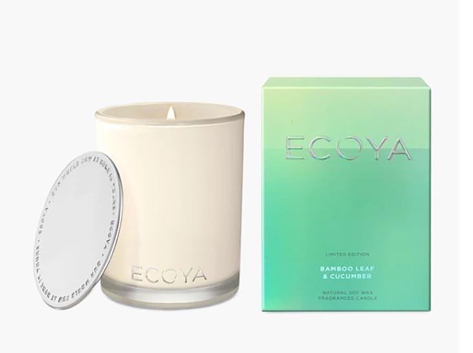 """Bamboo leaf & cucumber Madison candle, $42.95, from [Ecoya](https://www.ecoya.com.au/collections/candles/products/bamboo-leaf-cucumber-madison-candle