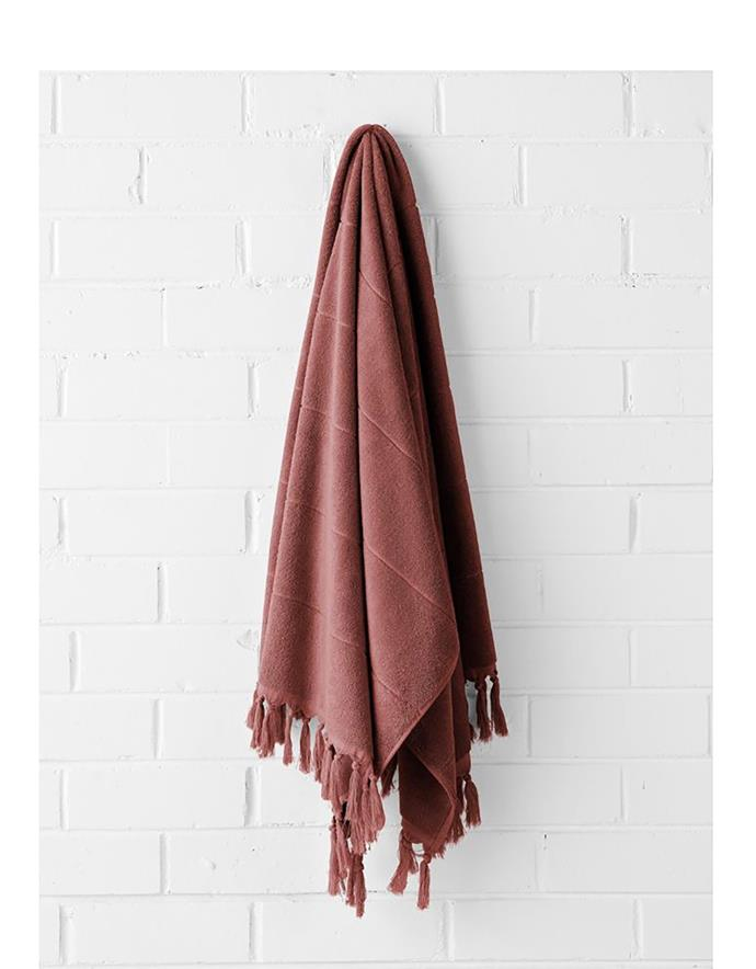 "Paros bath towel in Mahogany, $49.95, from [Aura Home](https://www.aurahome.com.au/paros-bath-towel-mahogany/|target=""_blank""|rel=""nofollow"")"