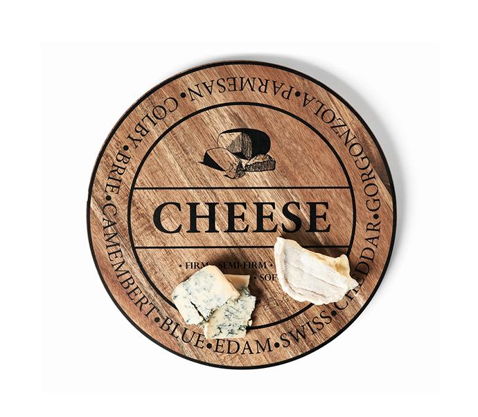 """Large fromage board, $29.95, from [Salt & Pepper](https://www.saltandpepper.com.au/tabletop/serveware/sandp-fromage-40cm-round-wooden-cheese-board/