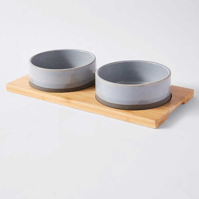 """Patch & Socks Cymba Ceramic Pet Twin Bowl, $20, [Target](https://www.target.com.au/p/patch-socks-cymba-ceramic-pet-twin-bowl/62824484