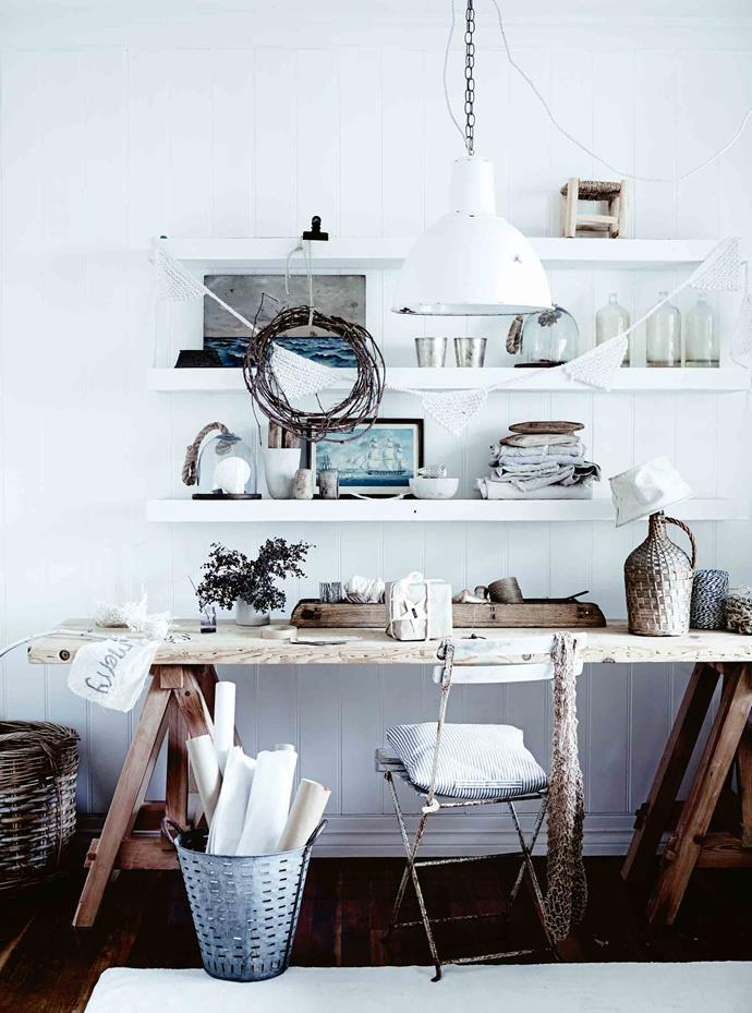 """Michelle's study and workspace features a trestle desk from [Provincial Home Living](https://www.provincialhomeliving.com.au/