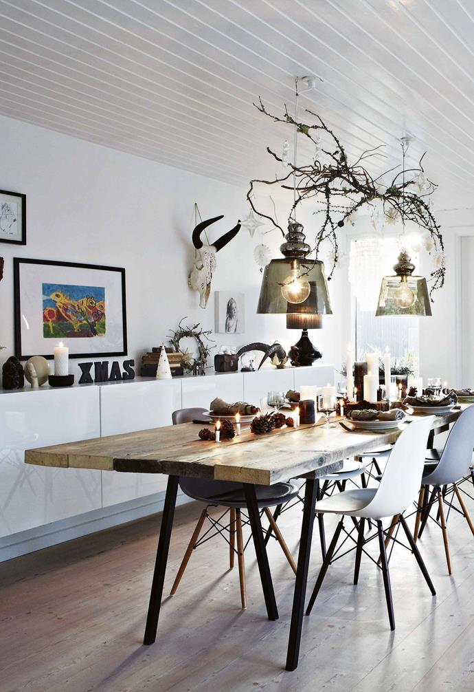 """""""I furnish and decorate in a quite intuitive way,"""" says Lene. """"I like to find the interaction between the modern and the old, the minimalist and the quirky.""""<br><br>**Dining area** This zone is a favourite gathering area for the family."""