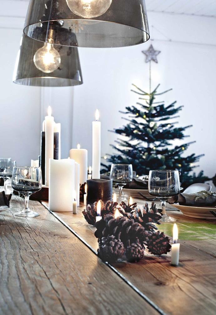 """When the holidays begin, the family heads into the surrounding forest to find branches to decorate the house. Some are dressed with ornaments, and some are allowed to stand bare, beautiful as they are. <br><br>**Dining area** The [Christmas table](https://www.homestolove.com.au/christmas-table-trends-youll-love-this-festive-season-4419